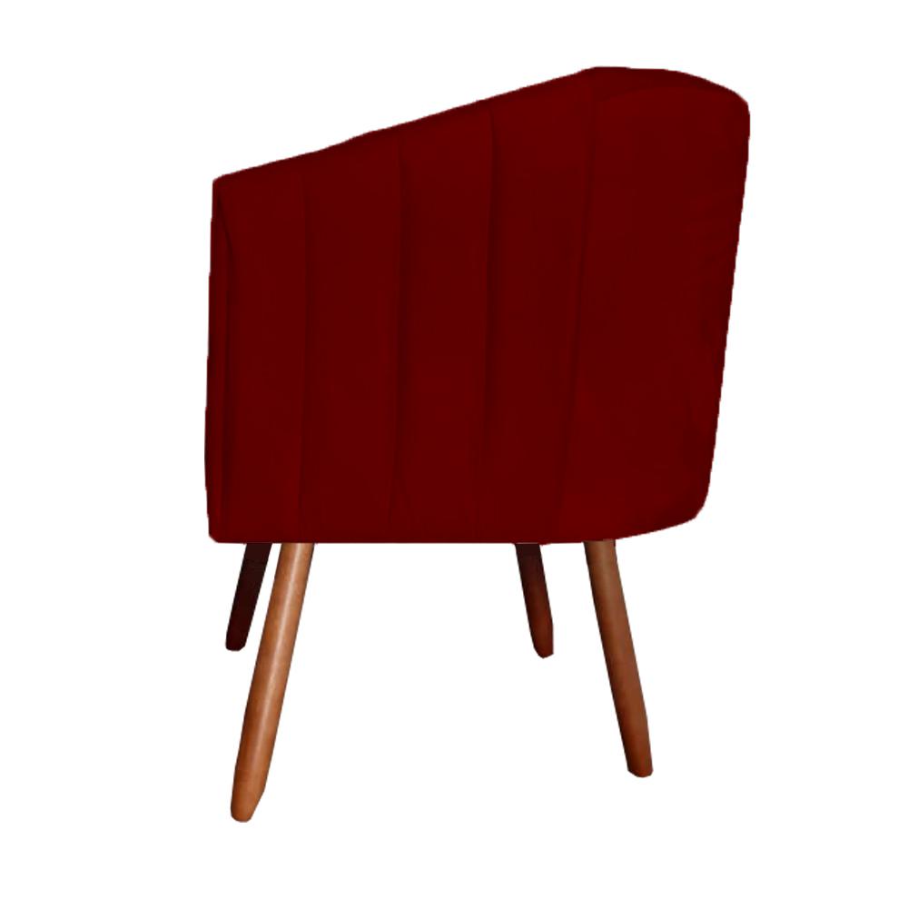 Kit 3 Poltrona Julia Decoração Salão Cadeira Escritório Recepção Estar Amamentação Suede Marsala