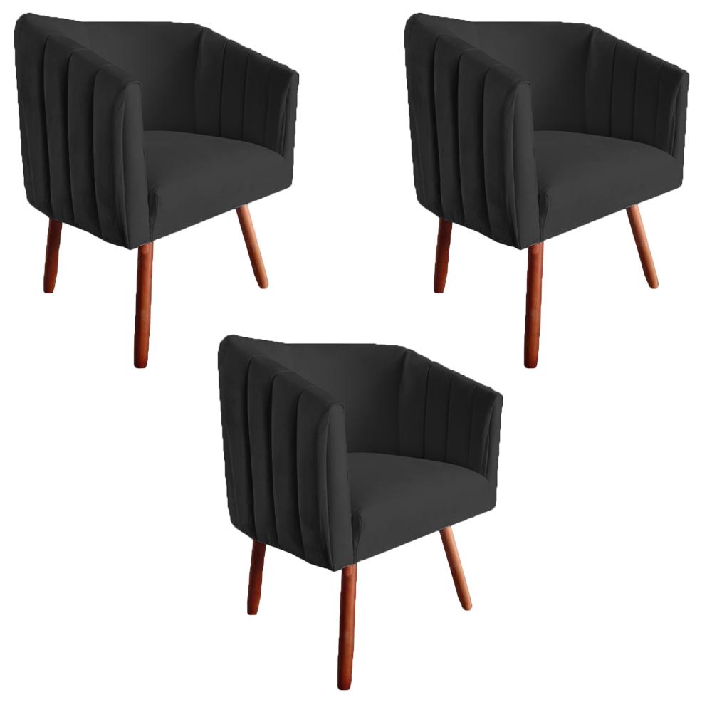 Kit 3 Poltrona Julia Decoração Salão Cadeira Escritório Recepção Estar Amamentação Suede Preto
