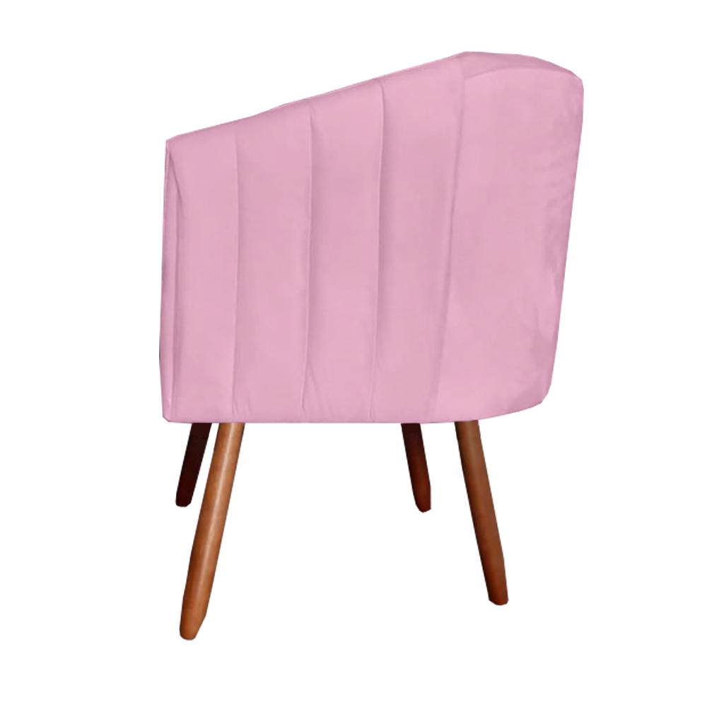 Kit 3 Poltrona Julia Decoração Salão Cadeira Escritório Recepção Estar Amamentação Suede Rosa Bebe