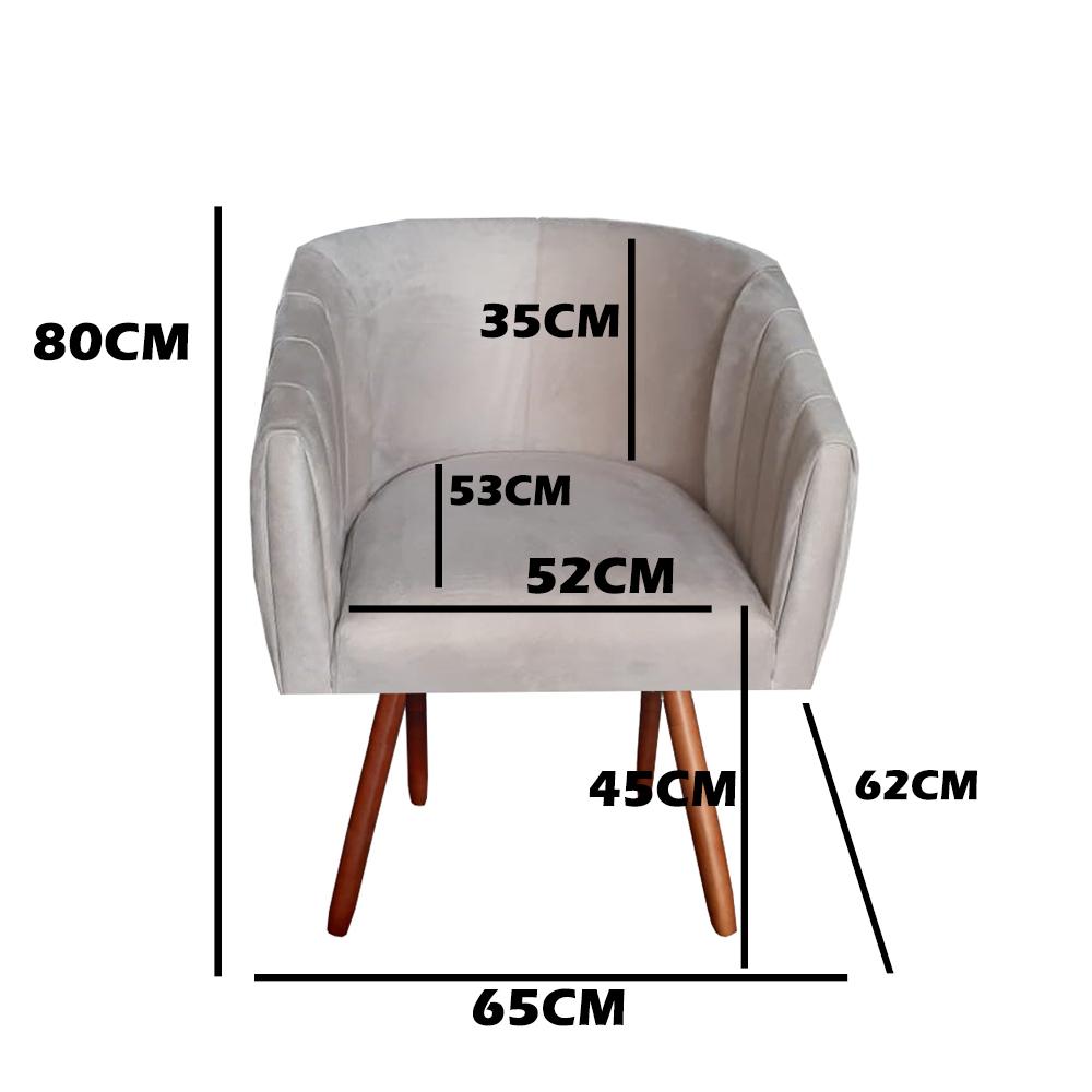 Kit 3 Poltrona Julia Decoração Salão Cadeira Escritório Recepção Sala Estar Amamentação D'Classe Decor Suede Marrom Rato