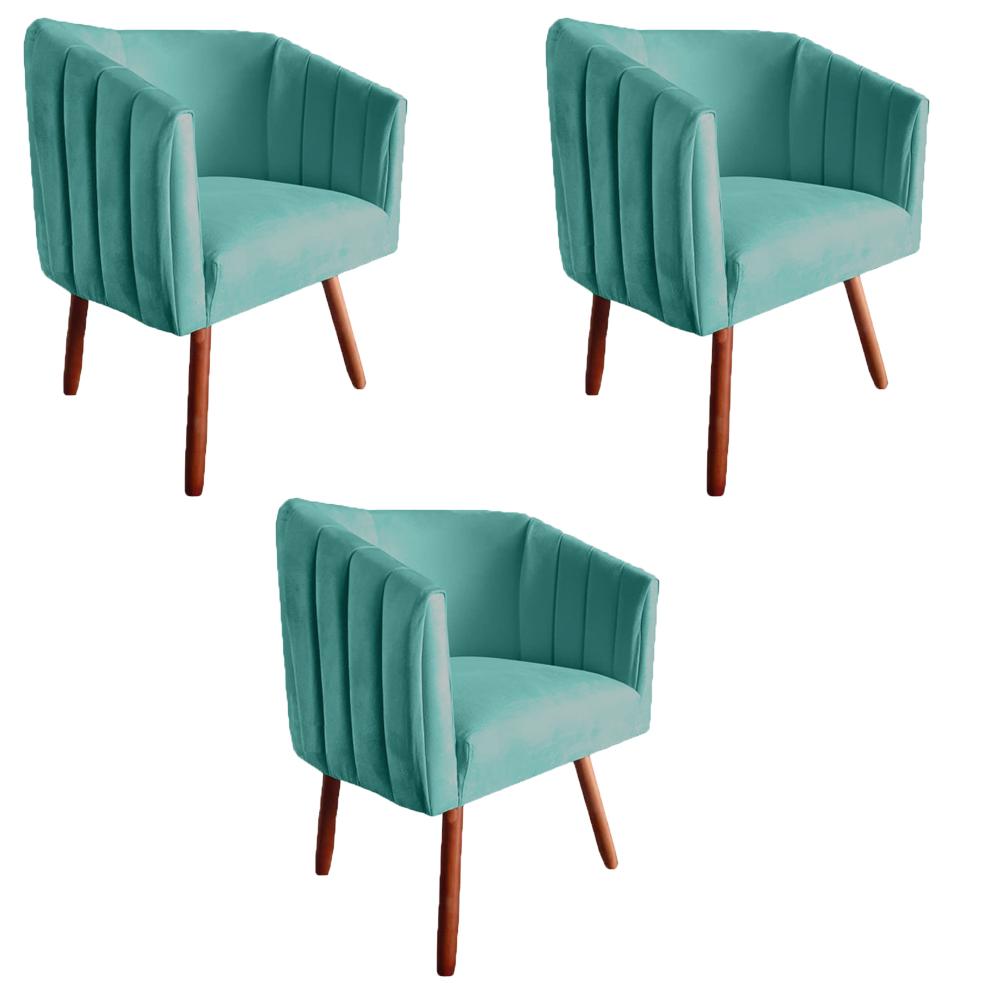 Kit 3 Poltrona Julia Decoração Salão Cadeira Escritório Recepção Sala Estar Amamentação D'Classe Decor Suede Az Tiffany