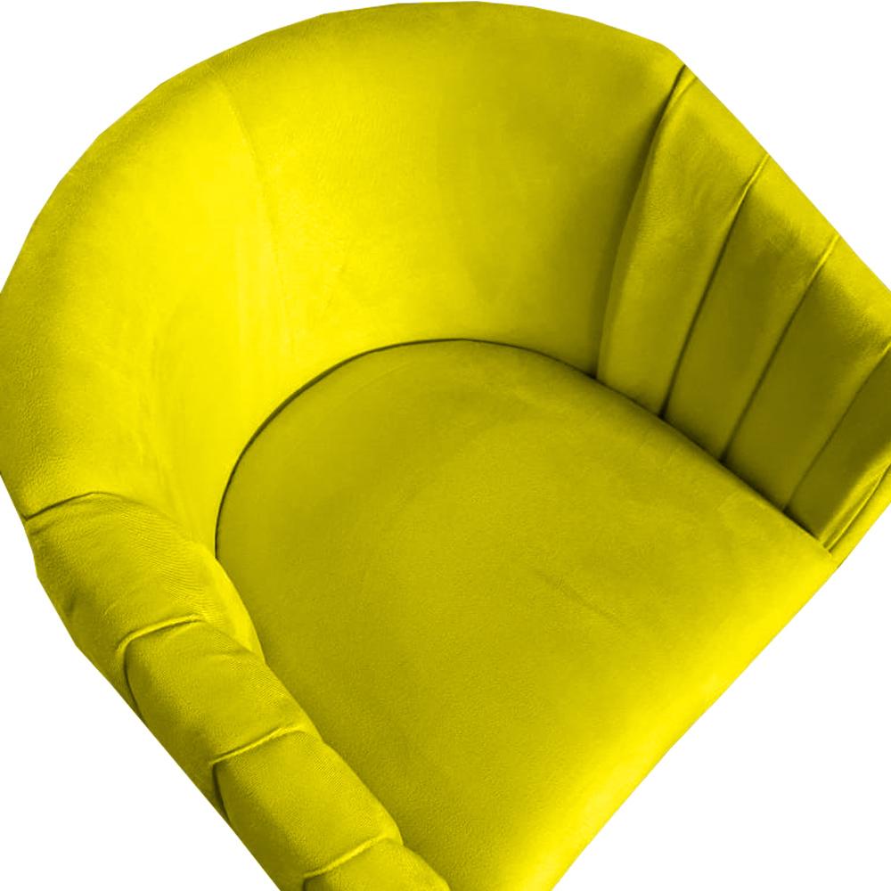Kit 3 Poltrona Julia Decoração Salão Cadeira Escritório Recepção Sala Estar Amamentação D'Classe Decor Suede Amarelo