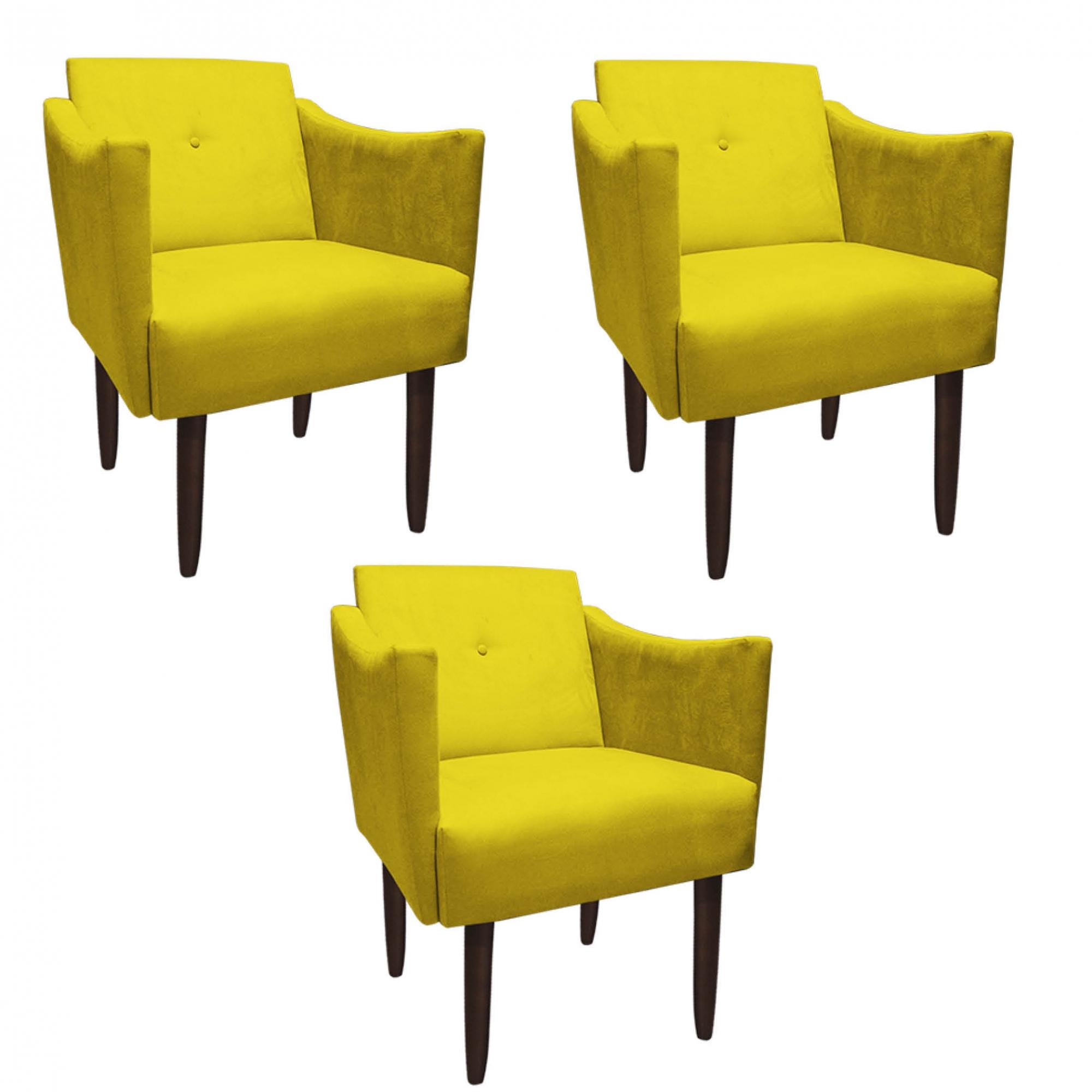 Kit 3 Poltrona Naty Decoração Escritório Salão Cadeira Recepção Escritório Sala Estar D'Classe Decor Suede Amarelo