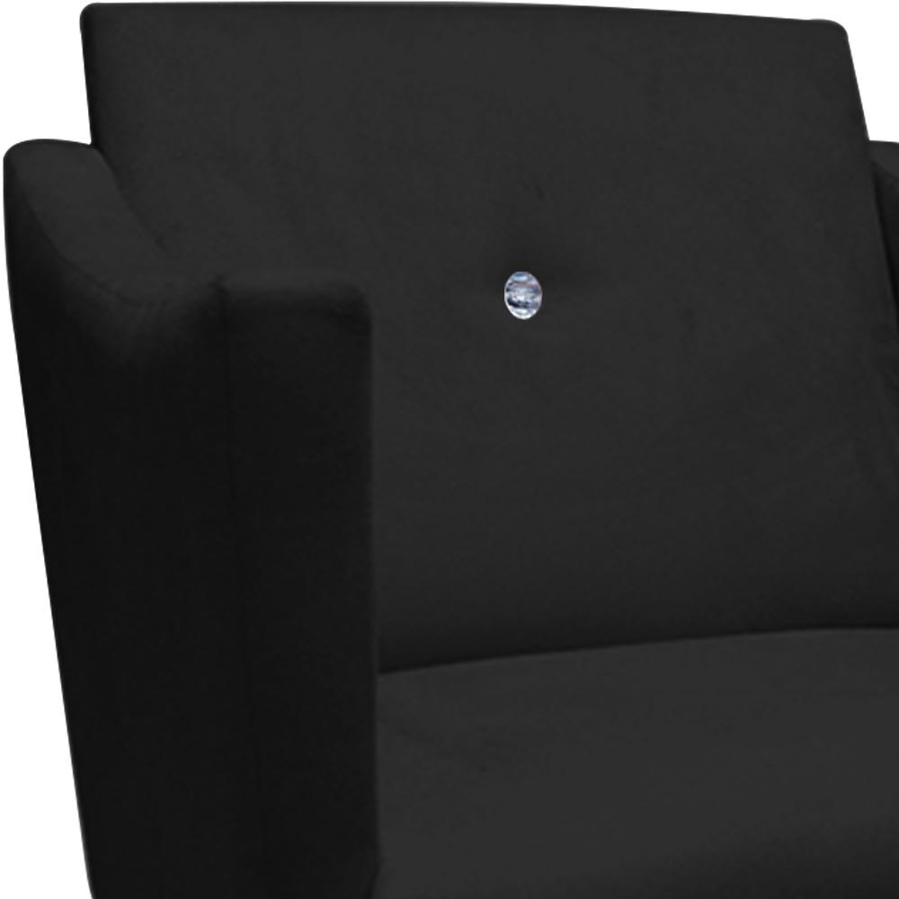 Kit 3 Poltrona Naty Strass Decoração Cadeira Clinica Recepção Salão Escritório D'Classe Decor Suede Preto