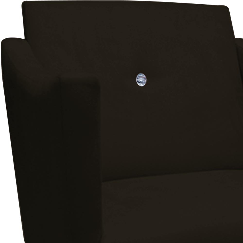 Kit 3 Poltrona Naty Strass Decoração Cadeira Clinica Recepção Salão Escritório D'Classe Decor Suede Marrom