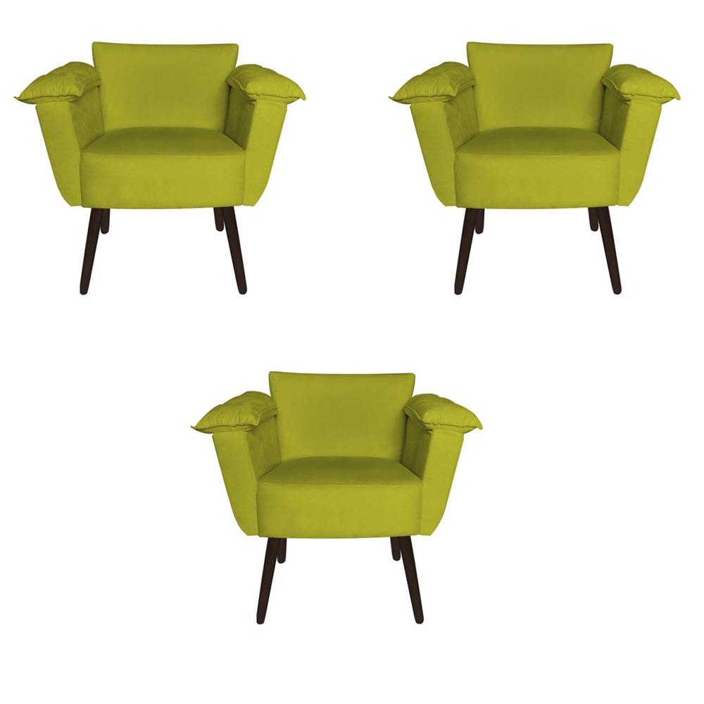 Kit 3 Poltrona Ruby Decoração Robusta Amamentação Pé Palito Sala Estar Escritório Quarto D'Classe Decor Suede Amarelo