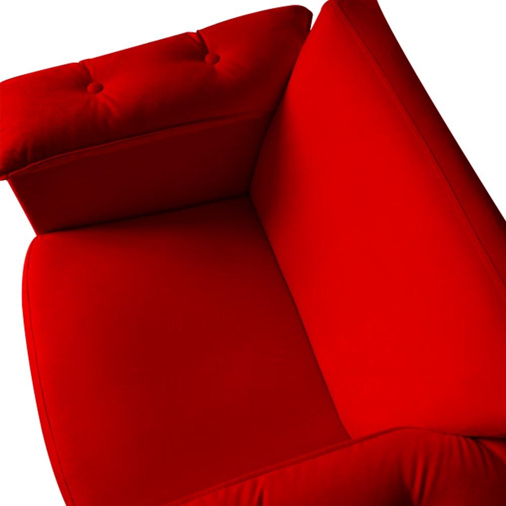 Kit 3 Poltrona Ruby Decoração Robusta Amamentação Pé Palito Sala Estar Escritório Quarto D'Classe Decor Suede Vermelho