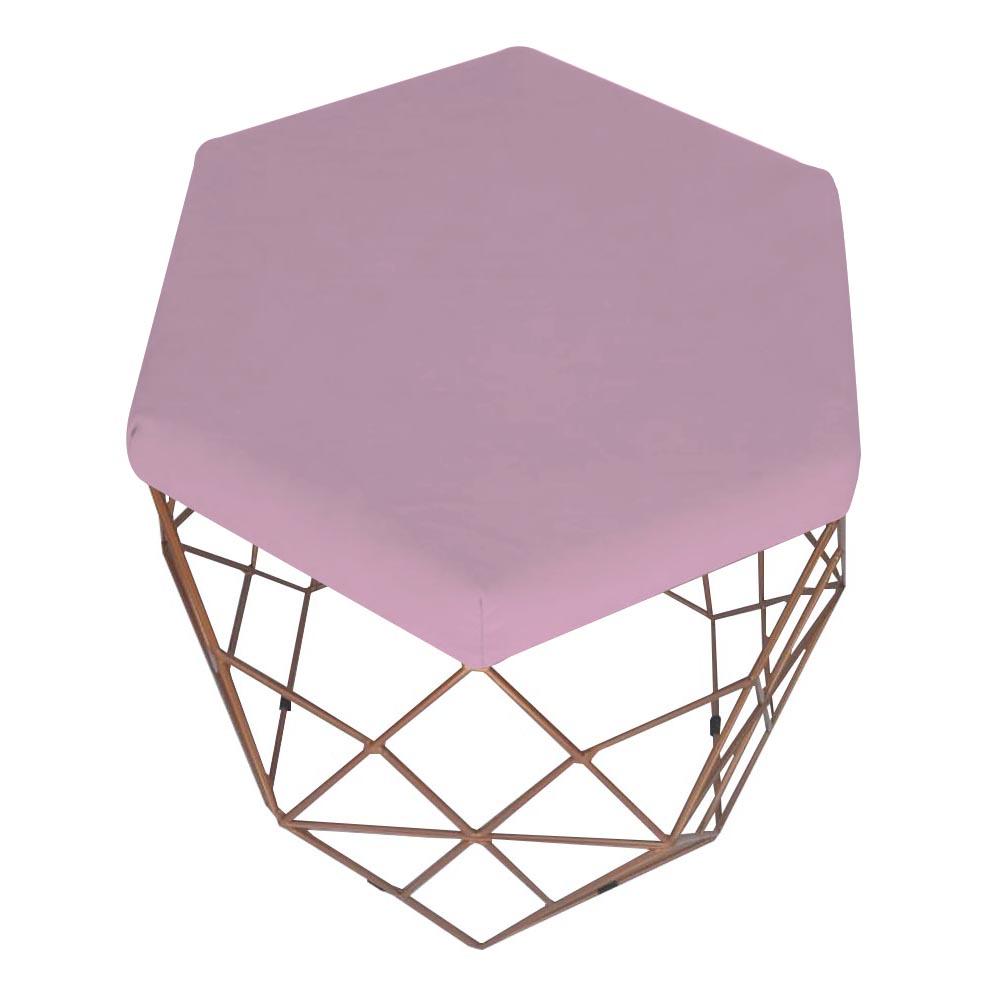 Kit 3 Puff Diamante Aramado Decoração Banqueta Salão Sala Estar Quarto D'Classe Decor Suede Rosa Bebê