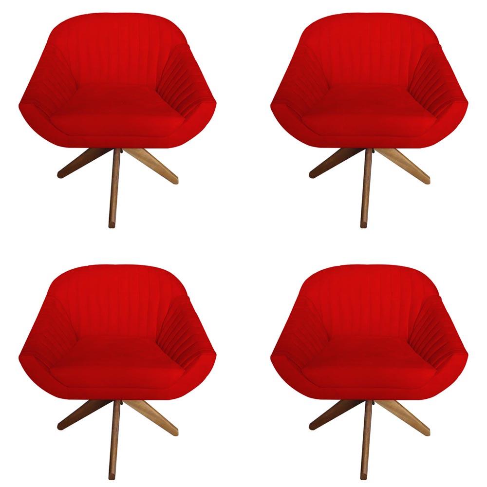 Kit 4 Poltrona Anitta Decoração Recepção Base Giratória Moderna Quarto Salão D'Classe Decor Suede Vermelho