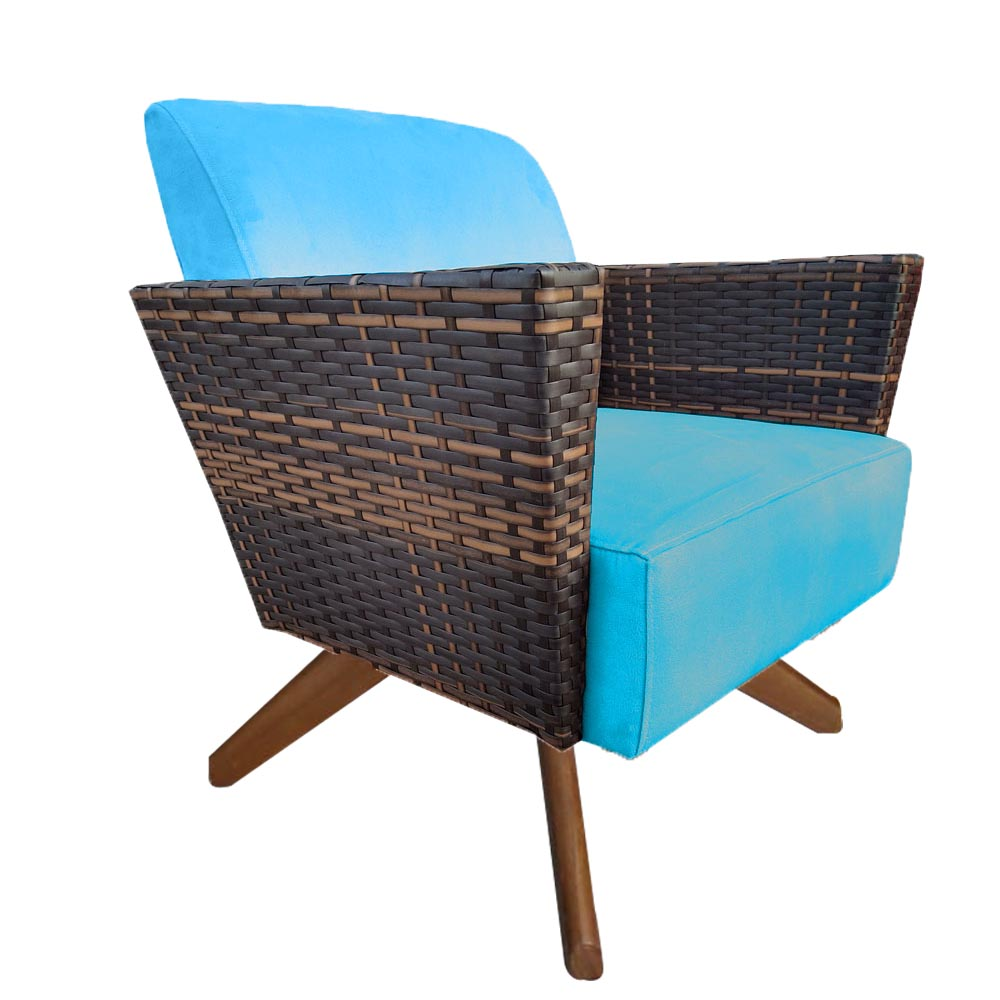 Kit 4 Poltrona Chanel Decoração Base Giratória Escritório Estar Recepção Clinica Suede Azul Tiffany