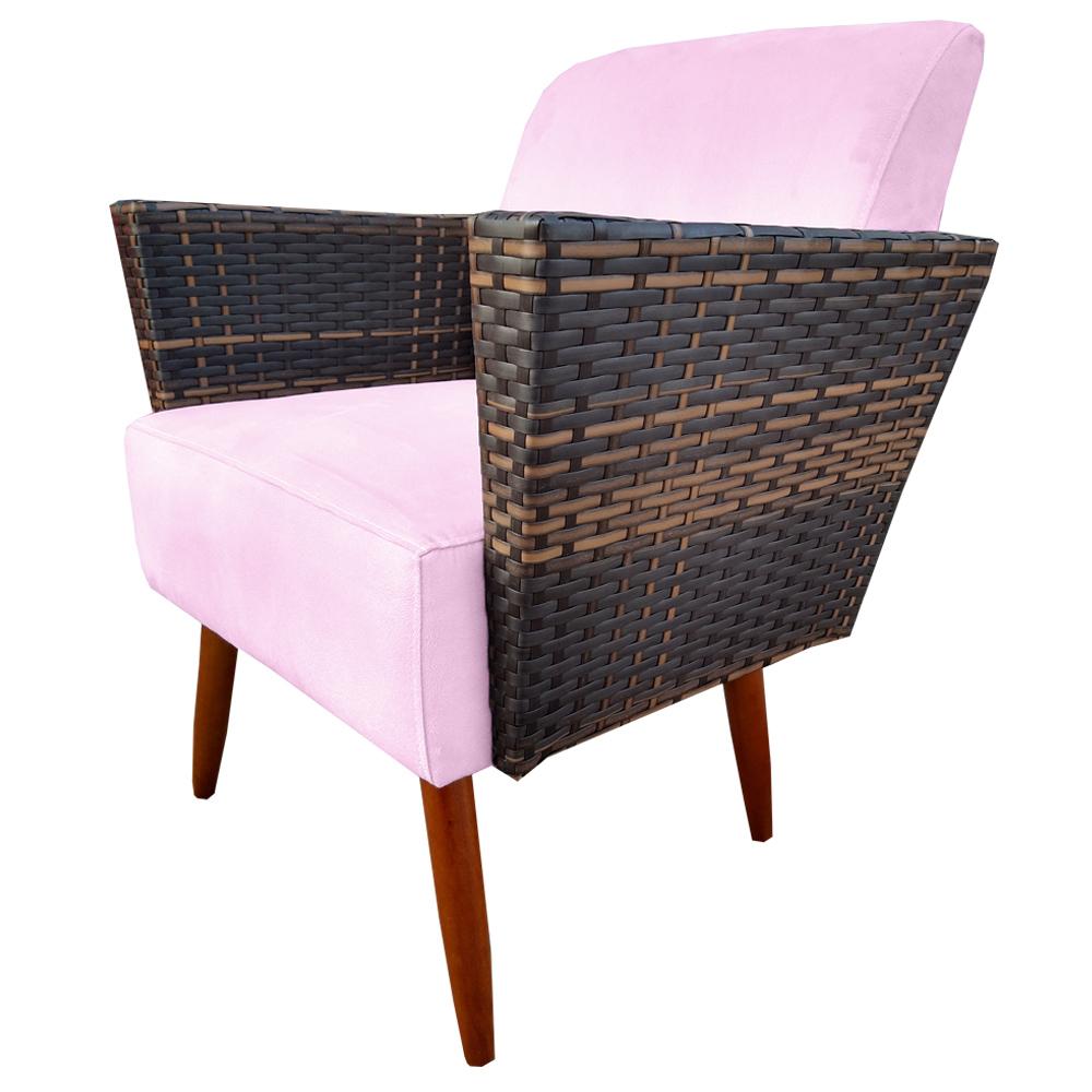 Kit 4 Poltrona Chanel Decoração Pé Palito Cadeira Escritório Clinica Jantar Estar Suede Rosa Bebê