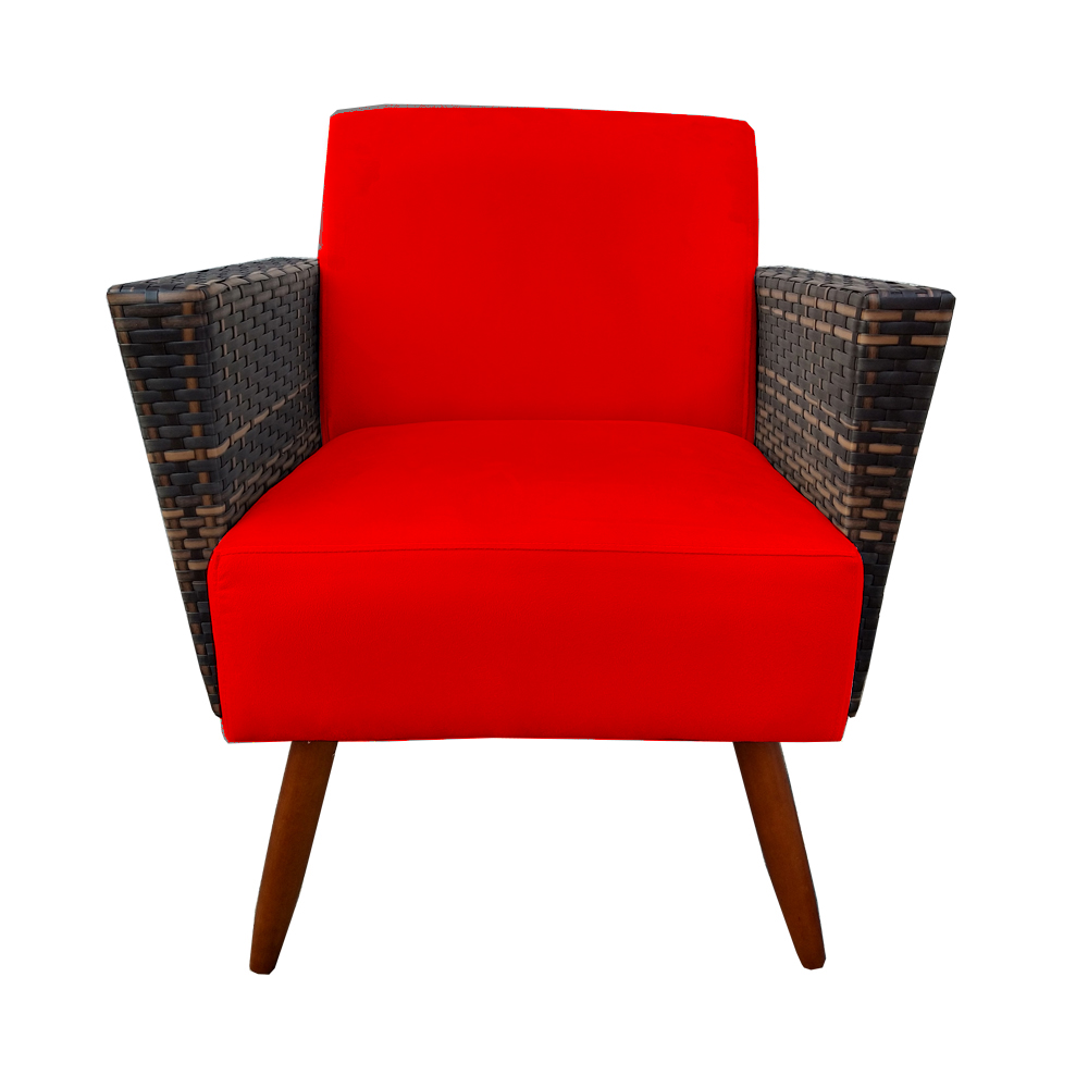 Kit 4 Poltrona Chanel Decoração Pé Palito Cadeira Escritório Clinica Jantar Estar Suede Vermelho