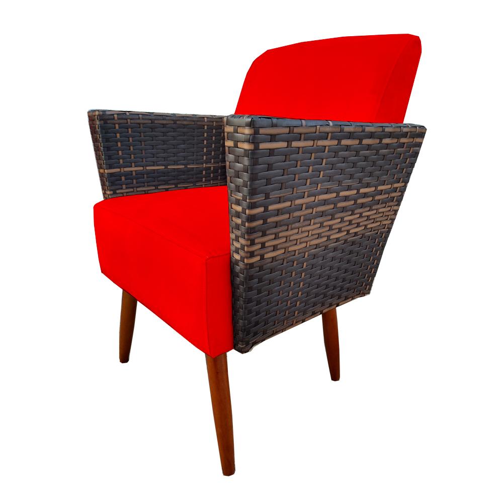 Kit 4 Poltrona Chanel Decoração Pé Palito Cadeira Escritório Clinica Jantar Sala Estar D'Classe Decor Suede Vermelho