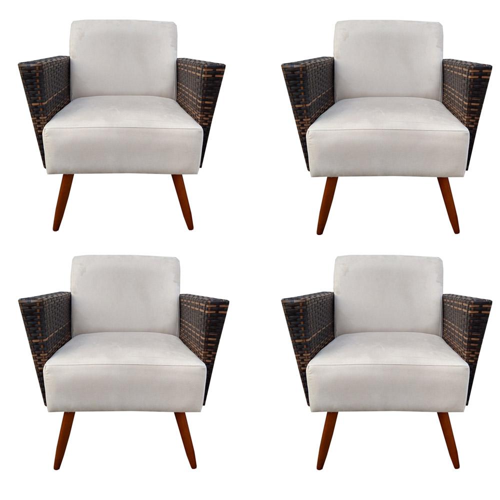 Kit 4 Poltrona Chanel Decoração Pé Palito Cadeira Escritório Clinica Jantar Sala Estar D'Classe Decor Suede Bege