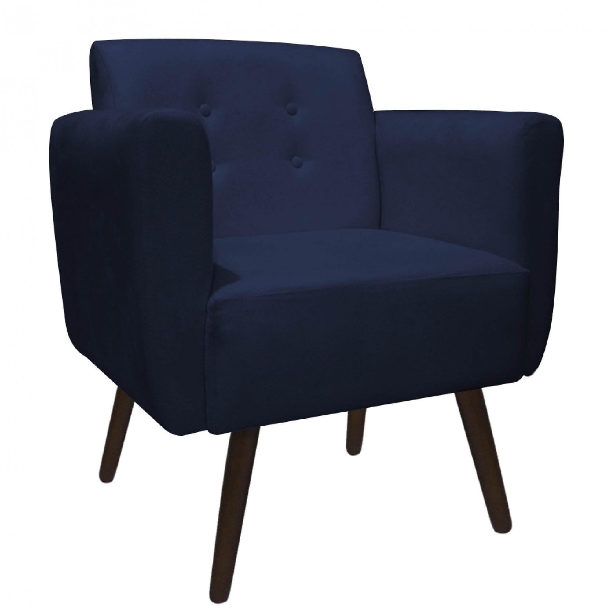 Kit 4 Poltrona Duda Decoraçâo Pé Palito Cadeira Recepção Escritório Clinica D'Classe Decor Suede Azul Marinho