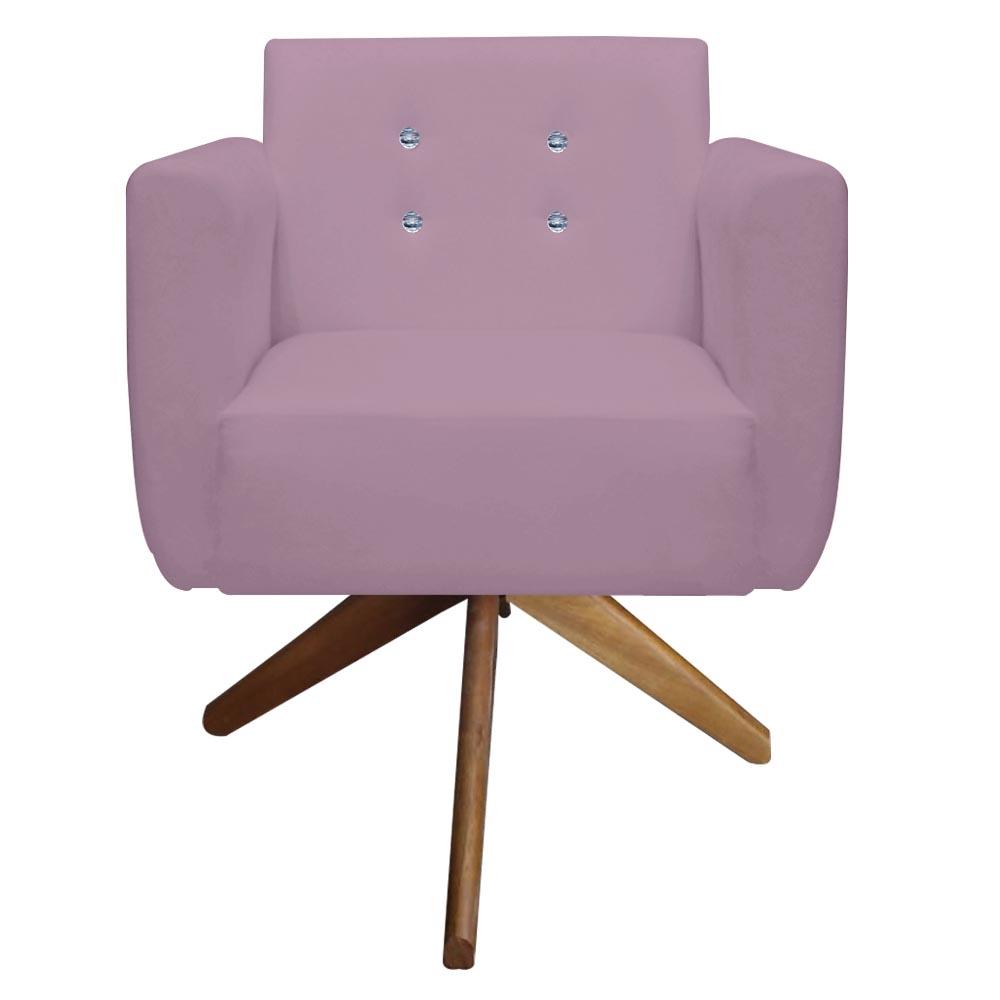 Kit 4 Poltrona Duda Strass Base Giratória Cadeira Escritório Consultório Salão D'Classe Decor Suede Rosa Bebê