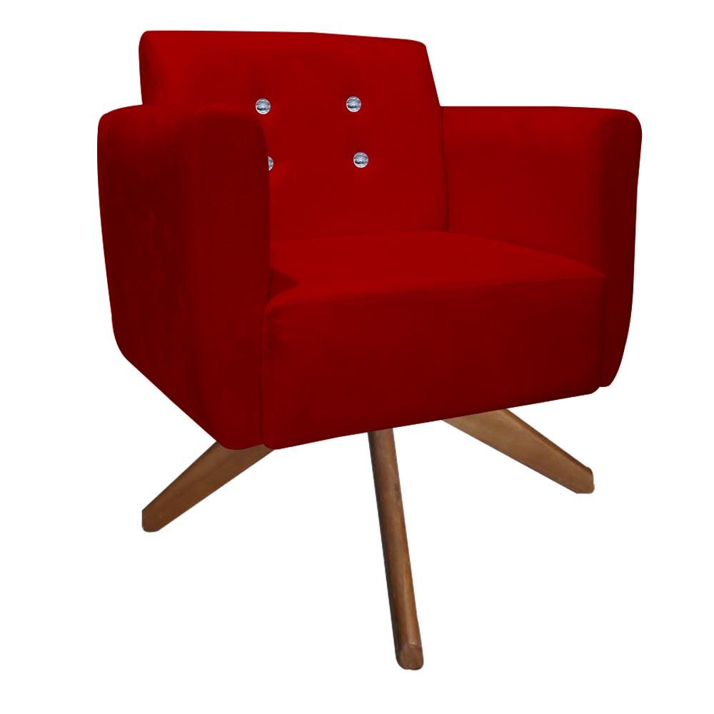 Kit 4 Poltrona Duda Strass Base Giratória Cadeira Escritório Consultório Salão D'Classe Decor Suede Vermelho