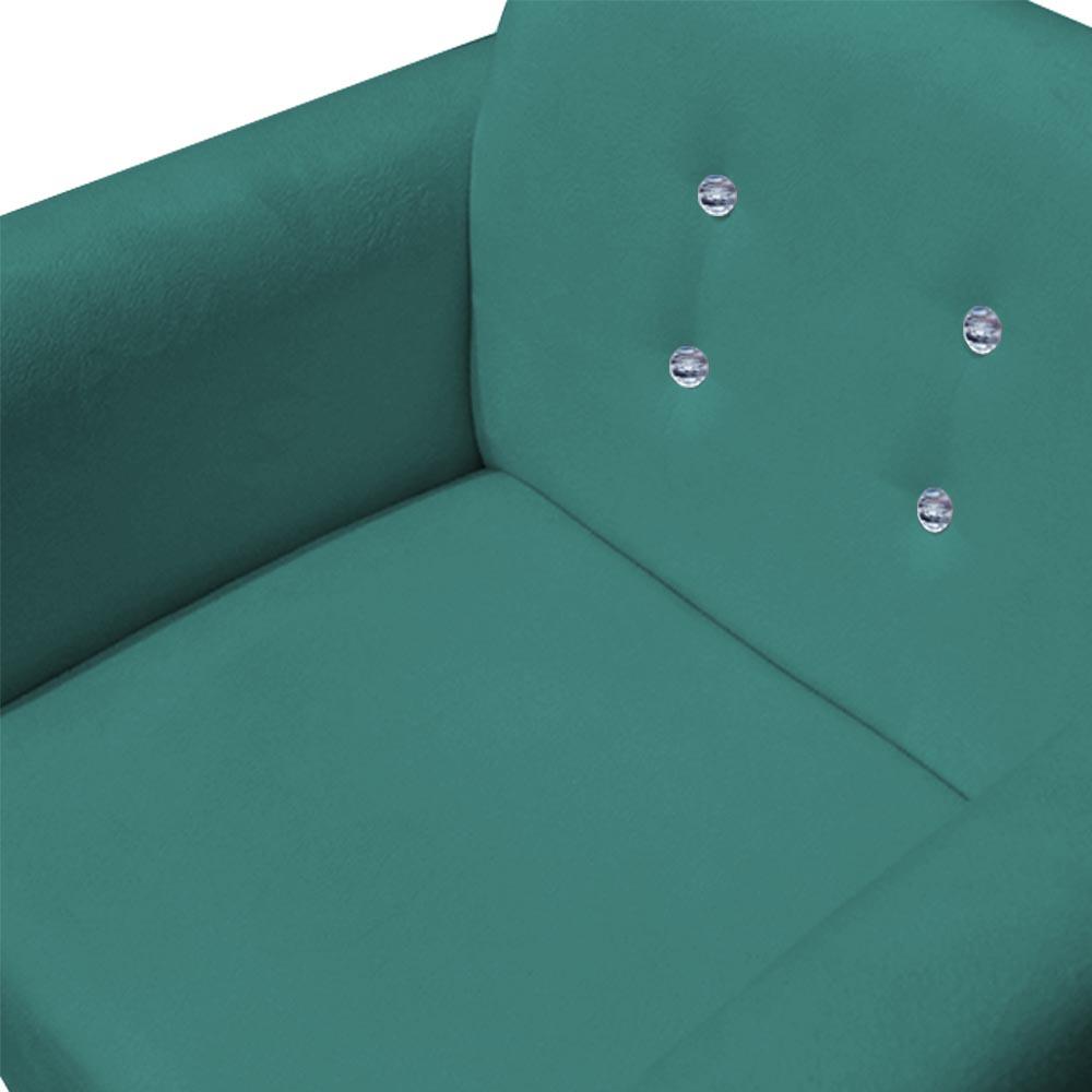 Kit 4 Poltrona Duda Strass Base Giratória Cadeira Escritório Consultório Salão D'Classe Decor Suede Azul Tiffany