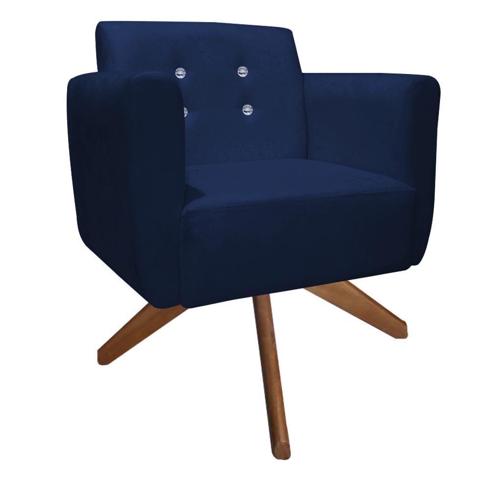 Kit 4 Poltrona Duda Strass Base Giratória Cadeira Escritório Consultório Salão D'Classe Decor Suede Azul Marinho