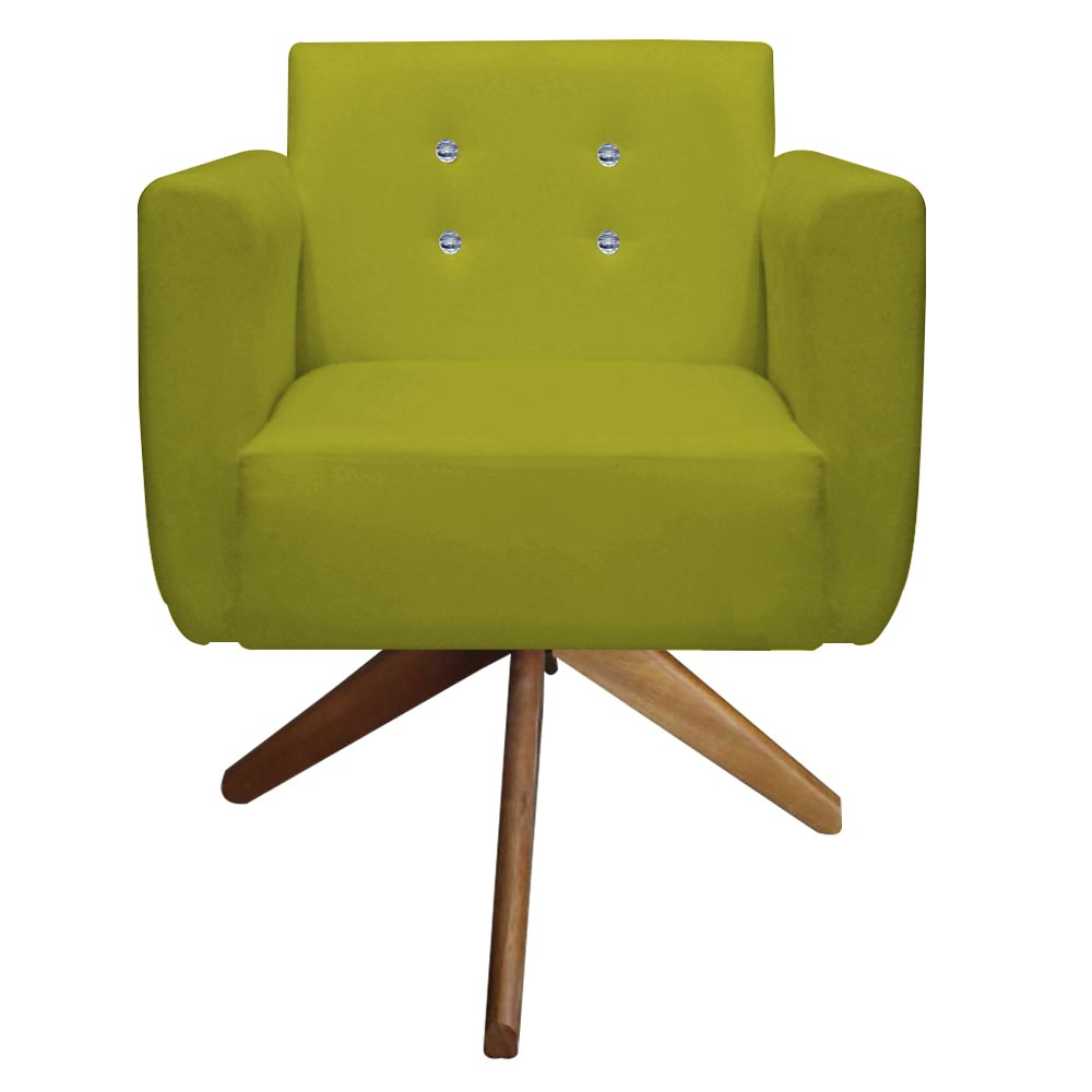 Kit 4 Poltrona Duda Strass Base Giratória Cadeira Escritório Consultório Salão D'Classe Decor Suede Amarelo