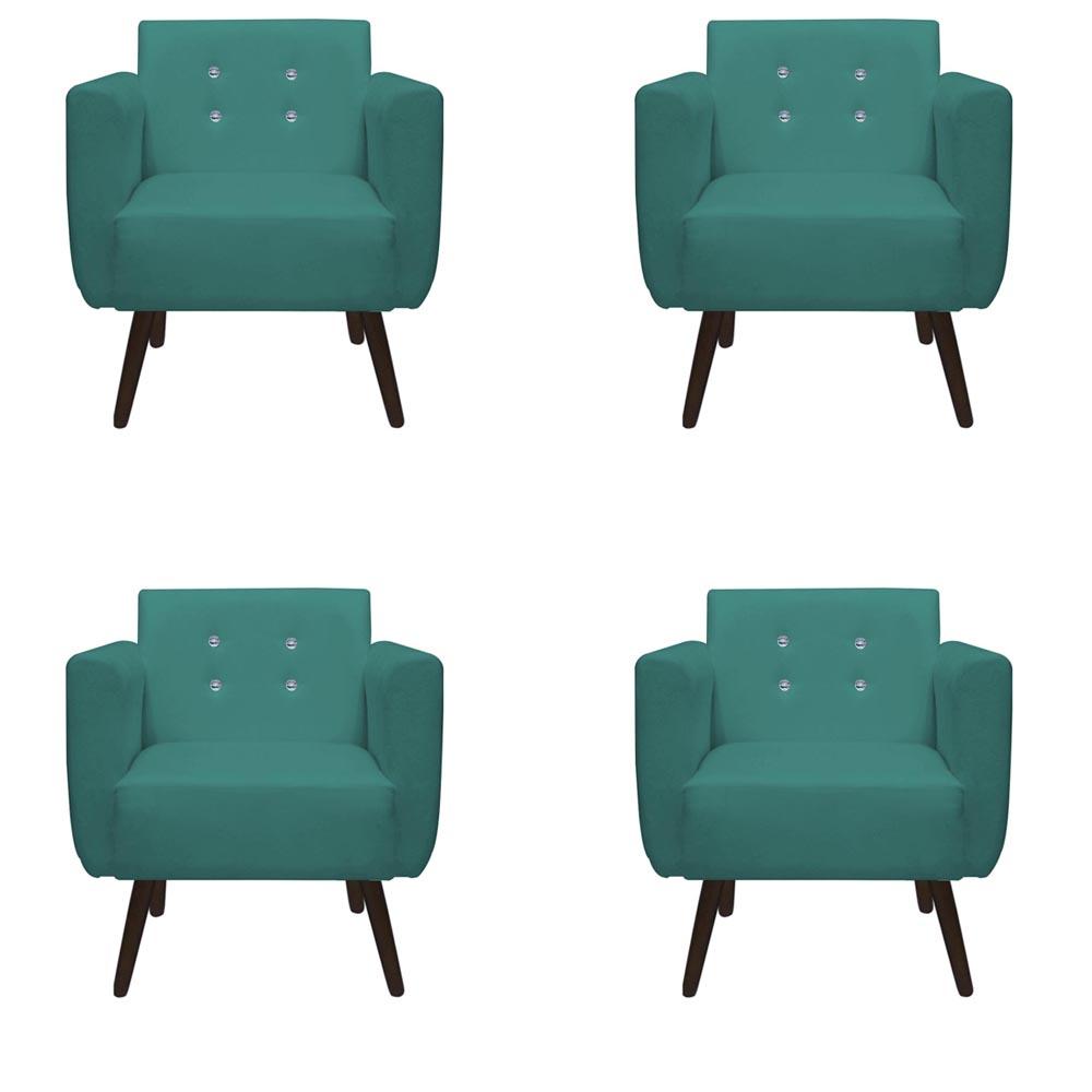 Kit 4 Poltrona Duda Strass Decoração Cadeira Escritório Consultório Salão D'Classe Decor Suede Azul Tiffany