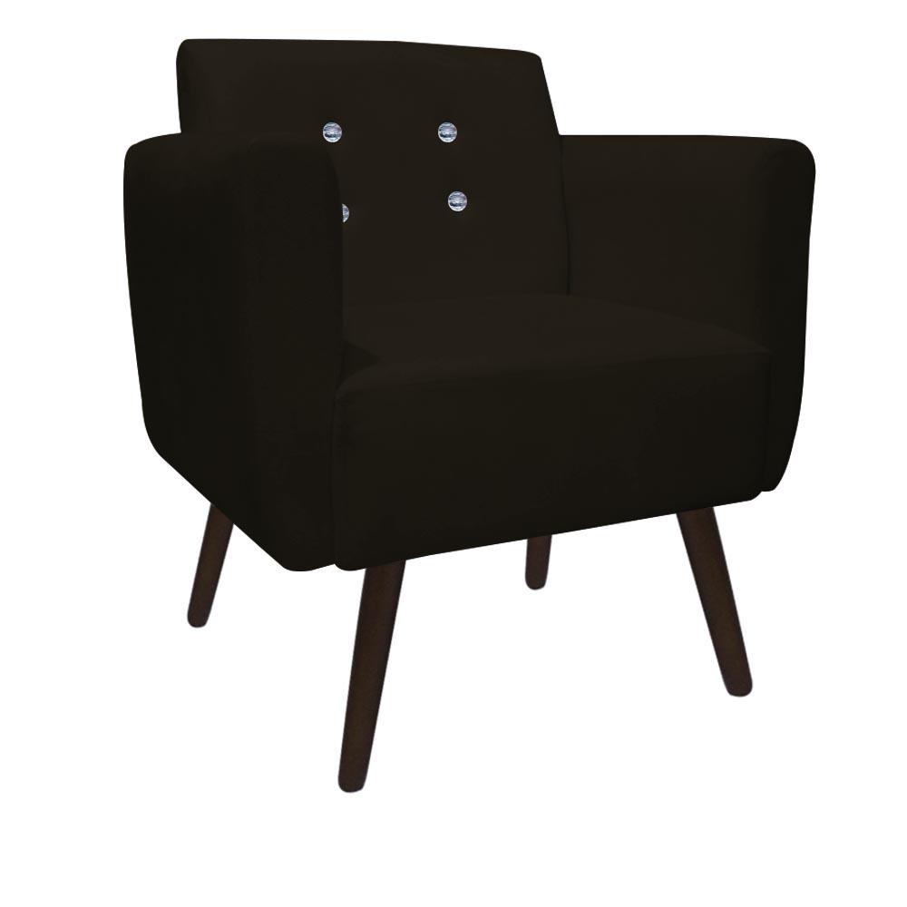 Kit 4 Poltrona Duda Strass Decoração Cadeira Escritório Consultório Salão D'Classe Decor Suede Marrom