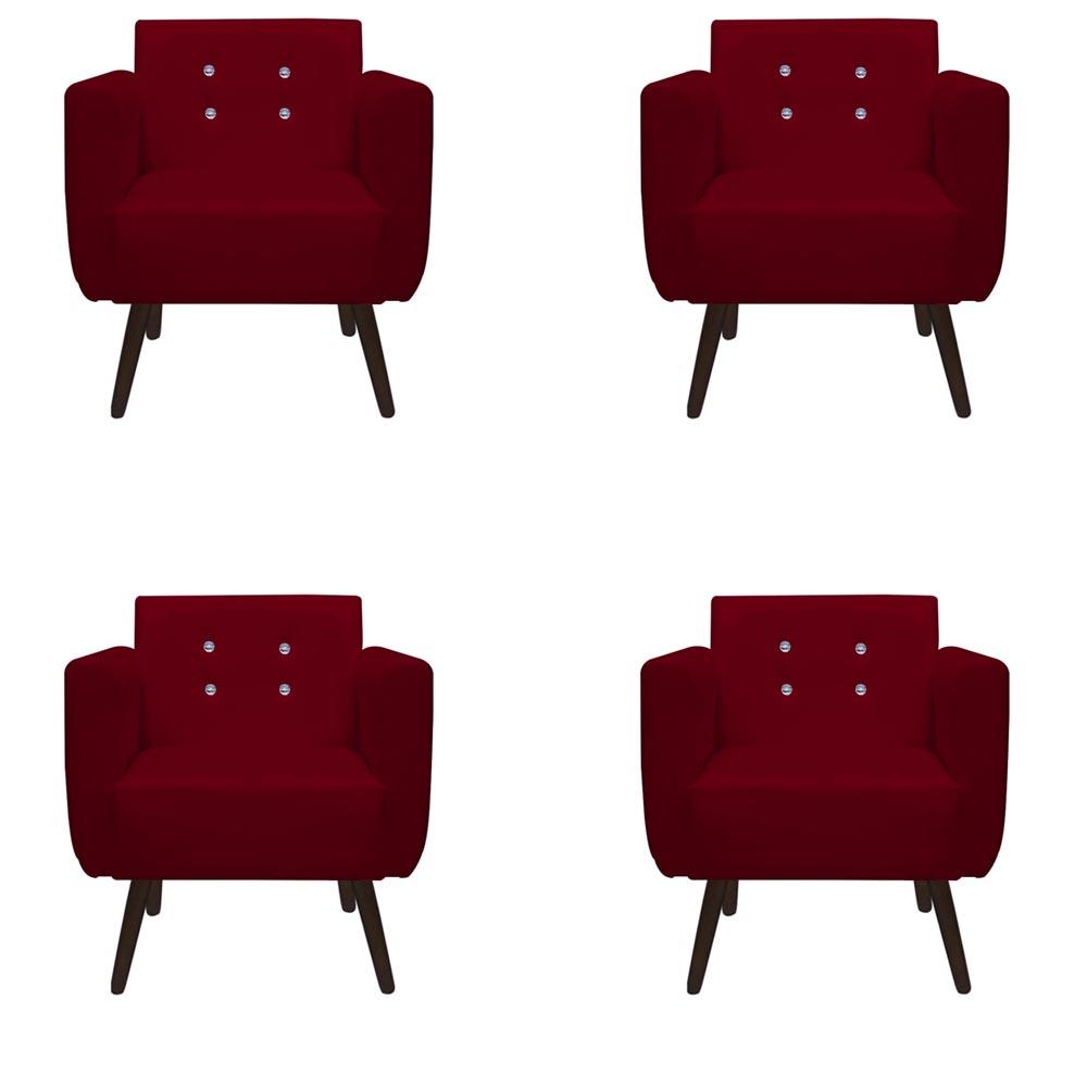 Kit 4 Poltrona Duda Strass Decoração Cadeira Escritório Consultório Salão D'Classe Decor Suede Marsala