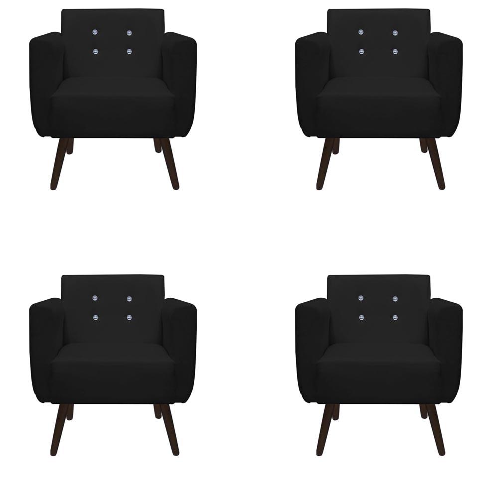 Kit 4 Poltrona Duda Strass Decoração Cadeira Escritório Consultório Salão D'Classe Decor Suede Preto