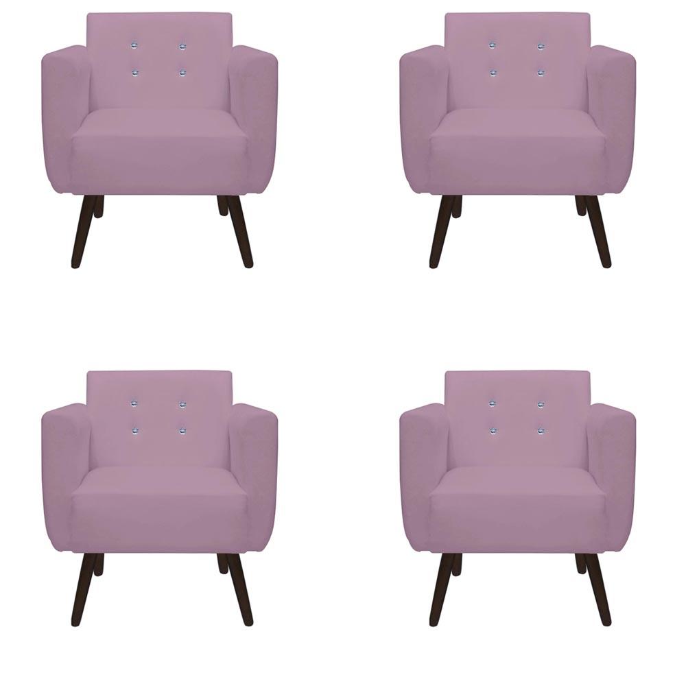 Kit 4 Poltrona Duda Strass Decoração Cadeira Escritório Consultório Salão D'Classe Decor Suede Rosa Bebê