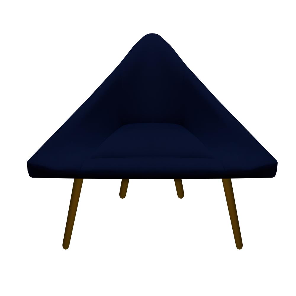 Kit 4 Poltrona Ibiza Triângulo Decoração Sala Clinica Recepção Escritório Quarto Cadeira D'Classe Decor Suede Az Marinho