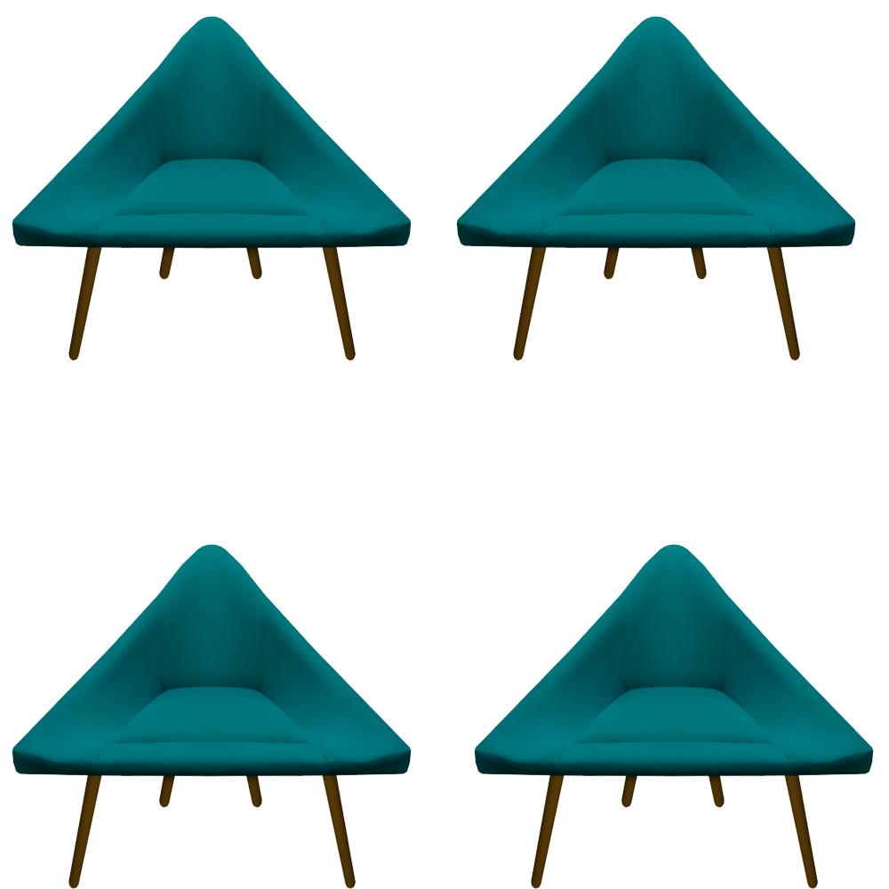 Kit 4 Poltrona Ibiza Triângulo Decoração Sala Clinica Recepção Escritório Quarto Cadeira D'Classe Decor Suede Az Tiffany