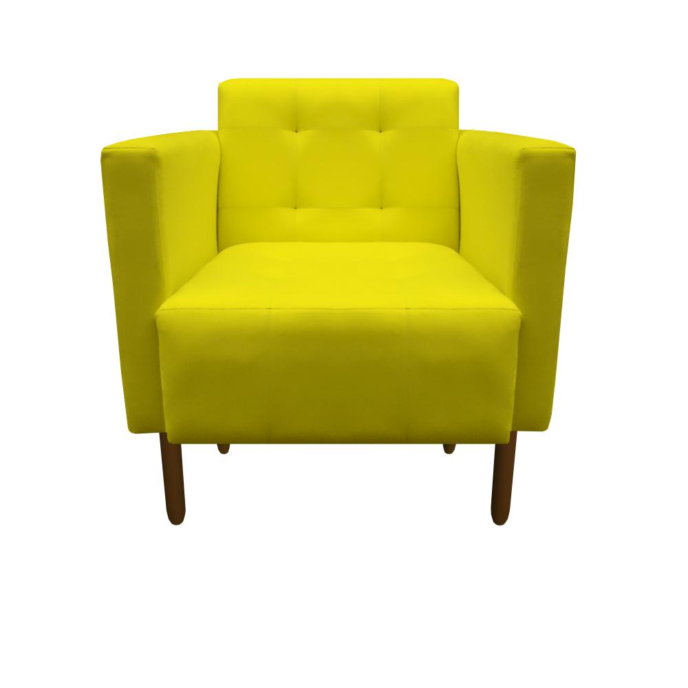 Kit 4 Poltrona Isa Decoração Clinica Recepção Escritório Quarto Cadeira D'Classe Decor Suede Amarelo