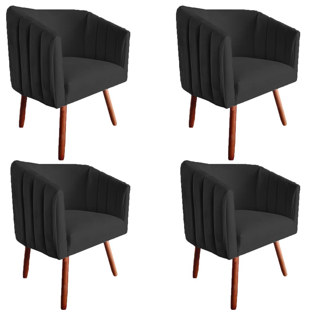 Kit 4 Poltrona Julia Decoração Salão Cadeira Escritório Recepção Estar Amamentação Suede Preto