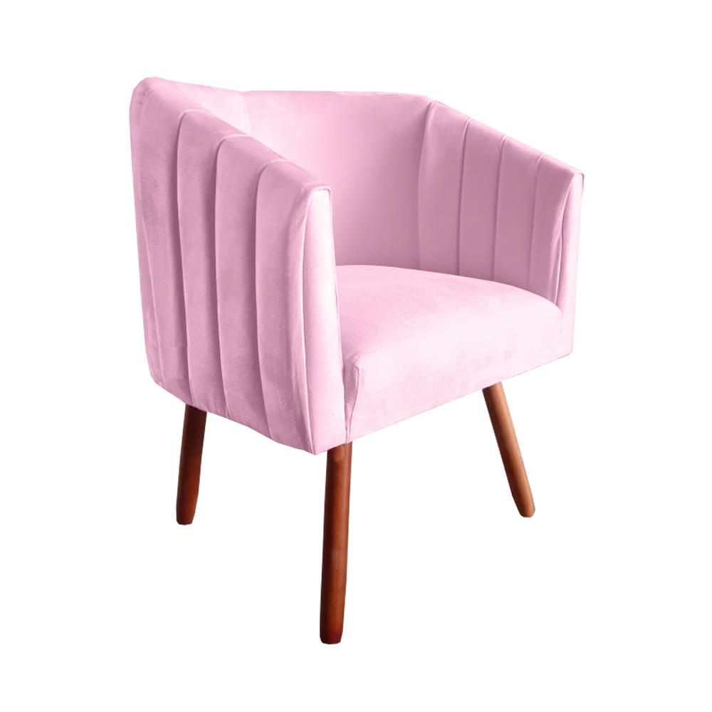 Kit 4 Poltrona Julia Decoração Salão Cadeira Escritório Recepção Estar Amamentação Suede Rosa Bebê