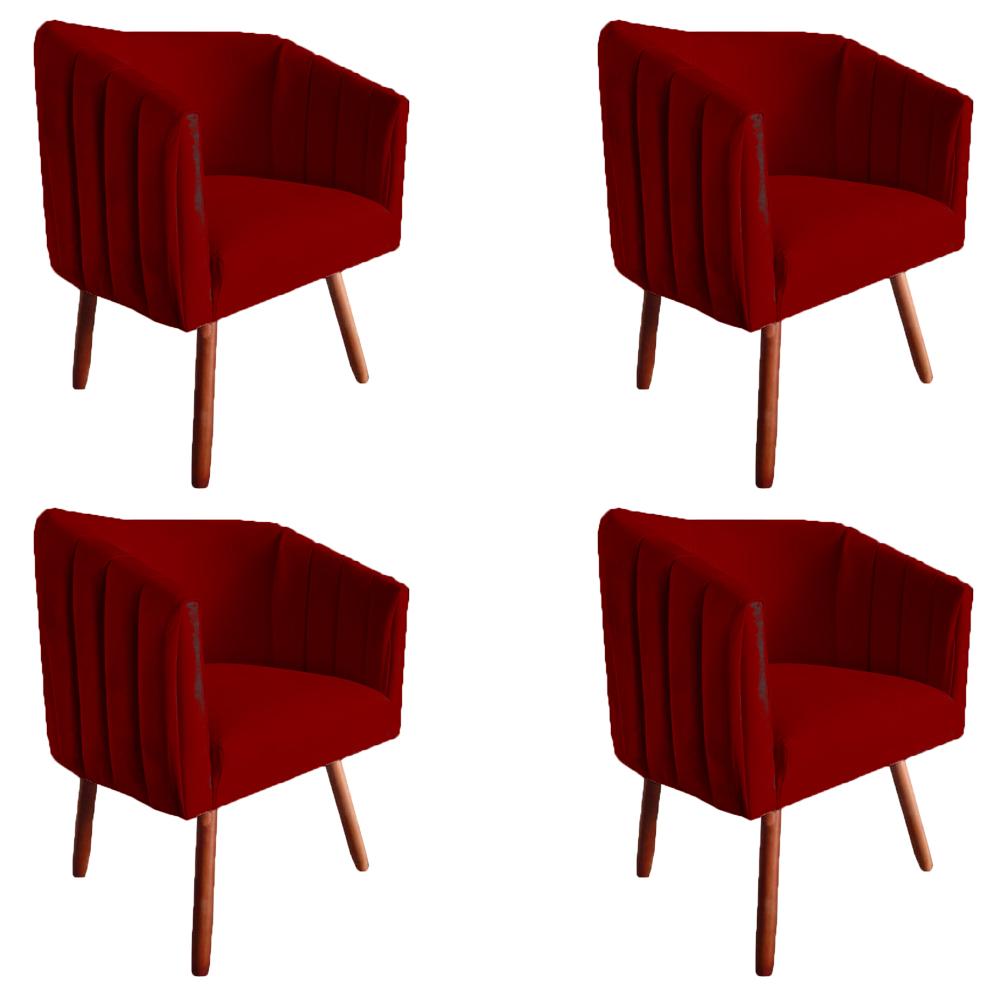 Kit 4 Poltrona Julia Decoração Salão Cadeira Escritório Recepção Sala Estar Amamentação D'Classe Decor Suede Marsala