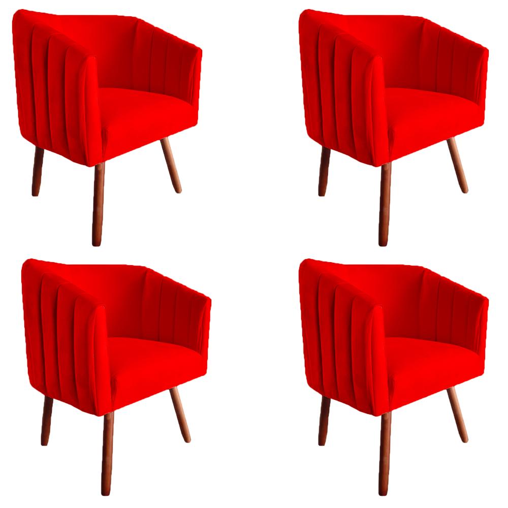 Kit 4 Poltrona Julia Decoração Salão Cadeira Escritório Recepção Sala Estar Amamentação D'Classe Decor Suede Vermelho