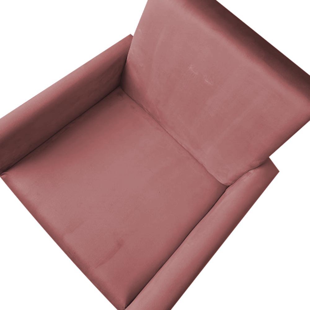 Kit 4 Poltrona Larissa Pé Palito Decoração Escritório Recepção Sala Quarto Veludo Rosê