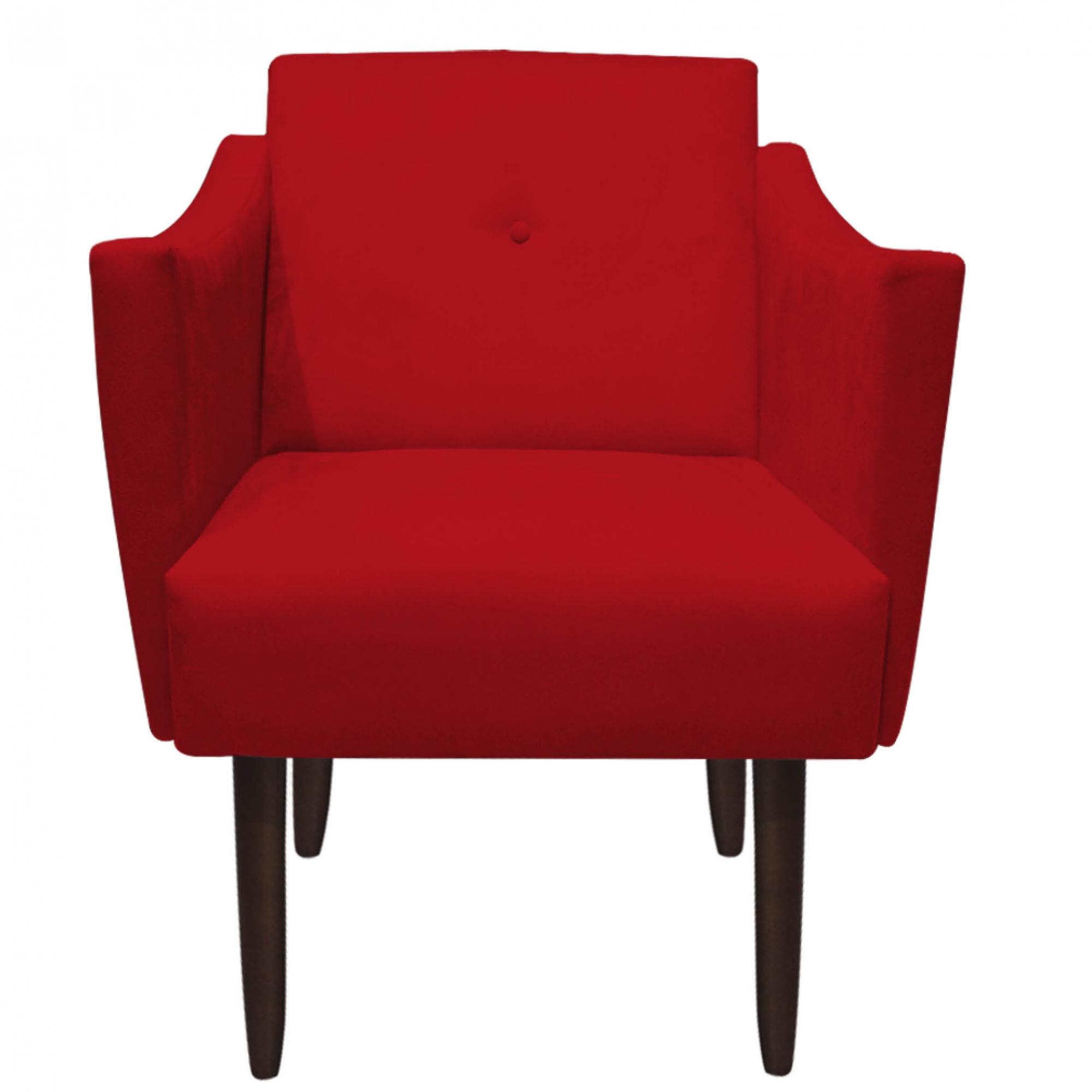 Kit 4 Poltrona Naty Decoração Clínica Salão Cadeira Recepção Escritório Sala Estar  D'Classe Decor Suede Vermelho