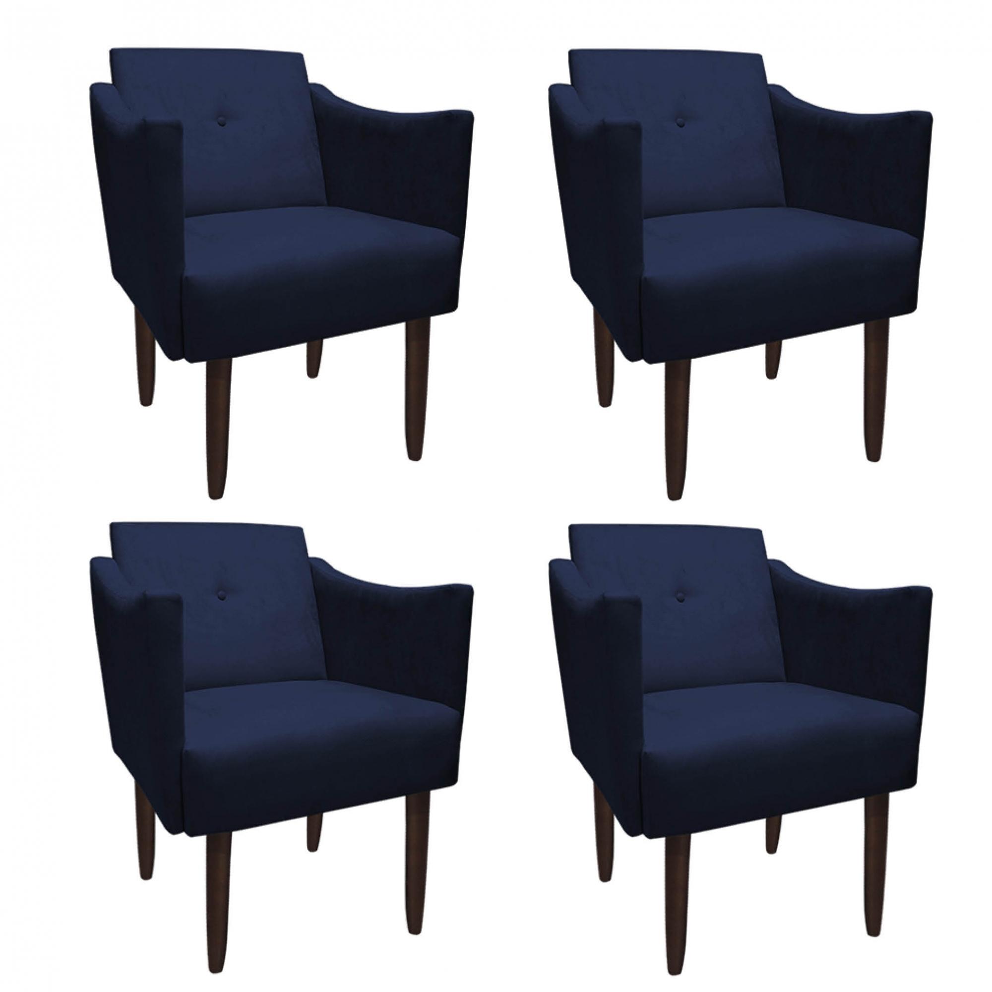Kit 4 Poltrona Naty Decoração Clínica Salão Cadeira Recepção Escritório Sala Estar  D'Classe Decor Suede Azul Marinho