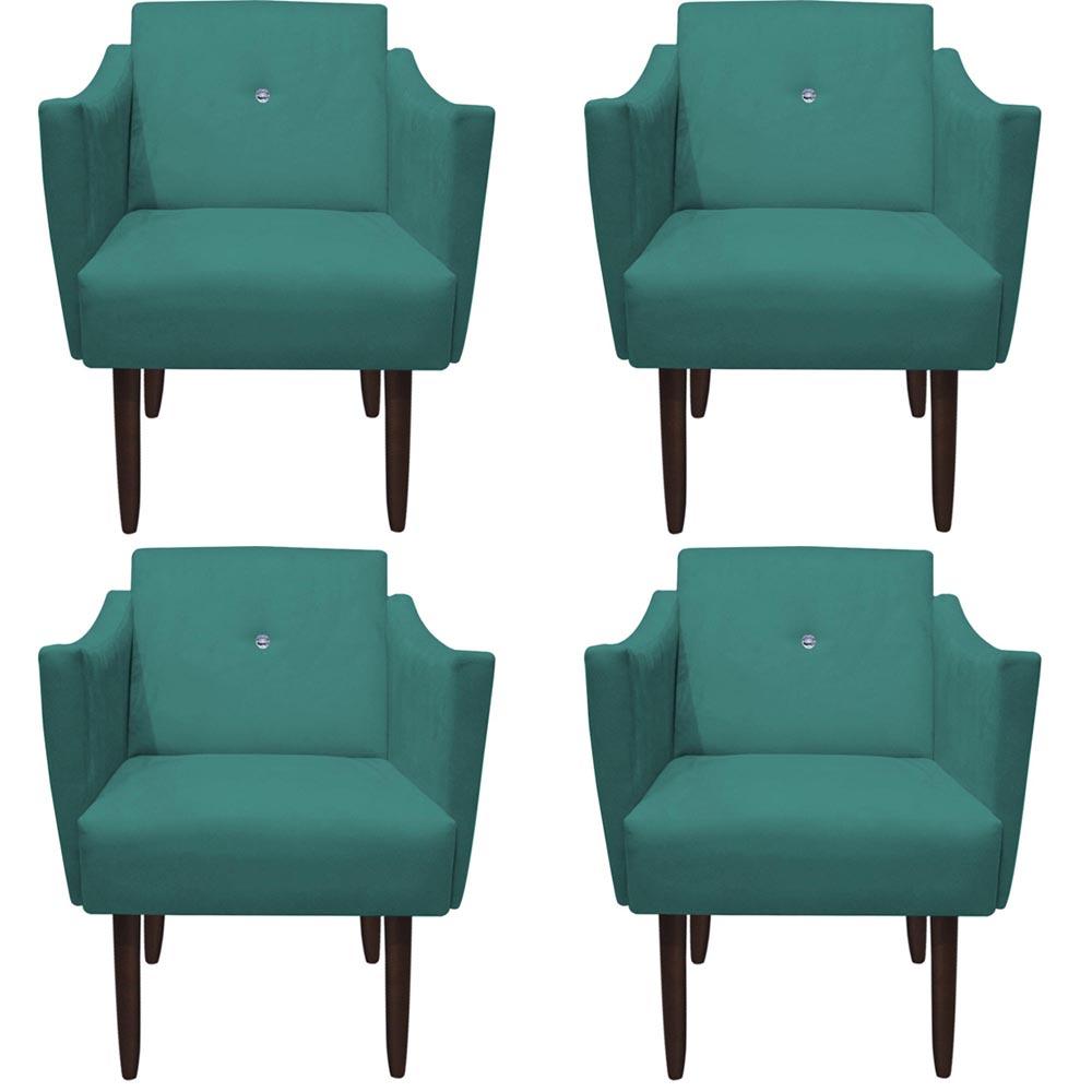 Kit 4 Poltrona Naty Strass Decoração Cadeira Clinica Recepção Salão Escritório D'Classe Decor Suede Azul Tiffany