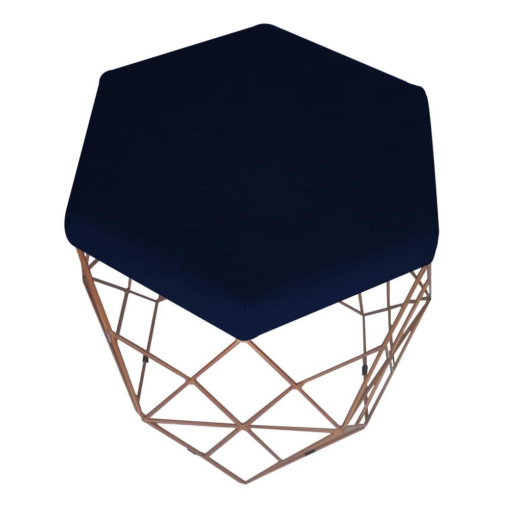Kit 4 Puff Diamante Aramado Decoração Banqueta Salão Sala Estar Quarto D'Classe Decor Suede Azul Marinho