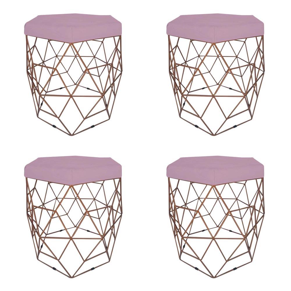 Kit 4 Puff Diamante Aramado Decoração Banqueta Salão Sala Estar Quarto D'Classe Decor Suede Rosa Bebê