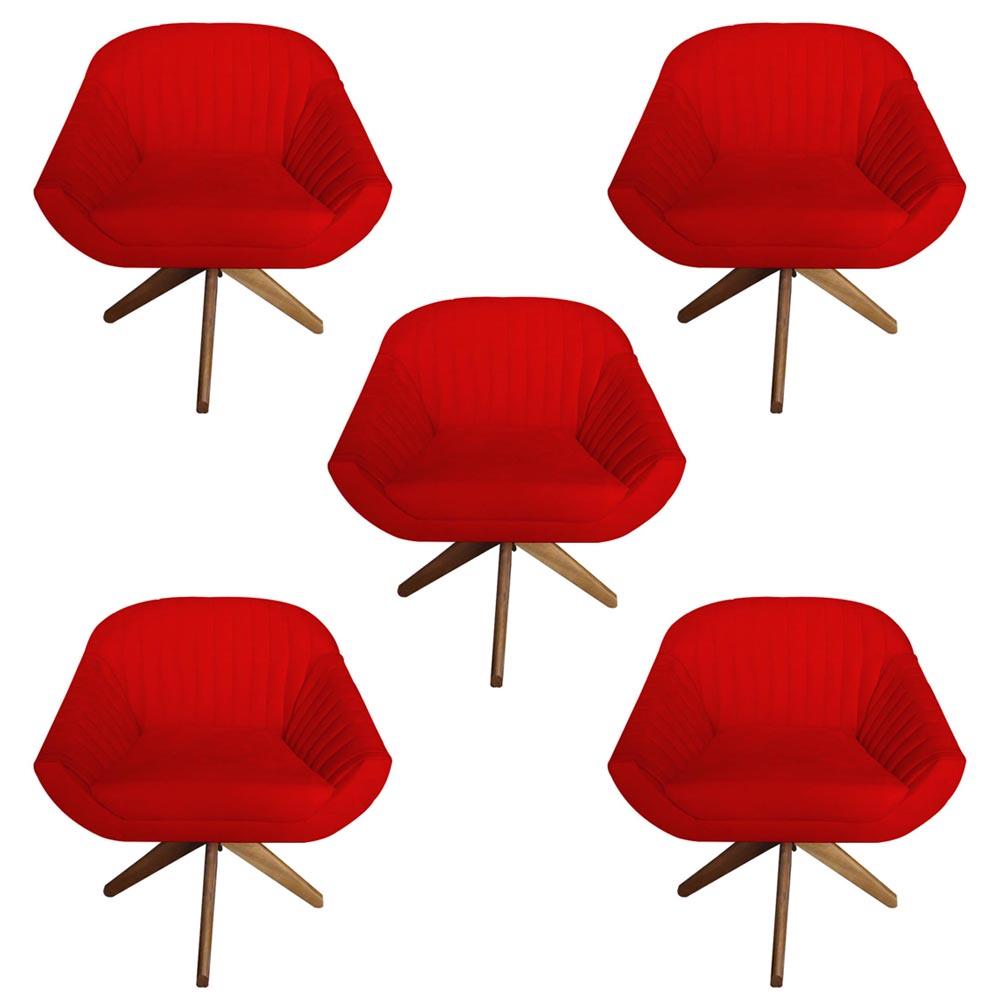 Kit 5 Poltrona Anitta Decoração Base Giratória Recepção Moderna Quarto Salão D'Classe Decor Suede Vermelho