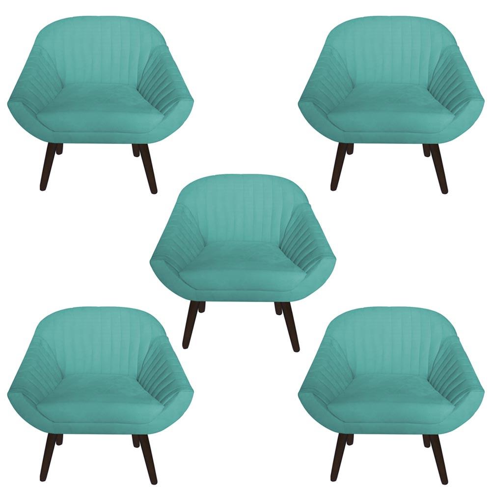 Kit 5 Poltrona Anitta Decoração Recepção Clínica Pé Palito Moderna Quarto Salão D'Classe Decor Suede Azul Tiffany