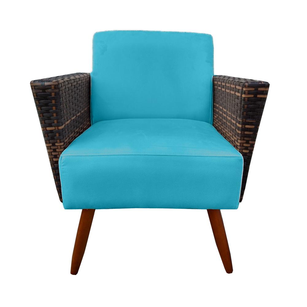 Kit 5 Poltrona Chanel Decoração Pé Palito Cadeira Escritório Clinica Jantar Estar Suede Azul Tiffany