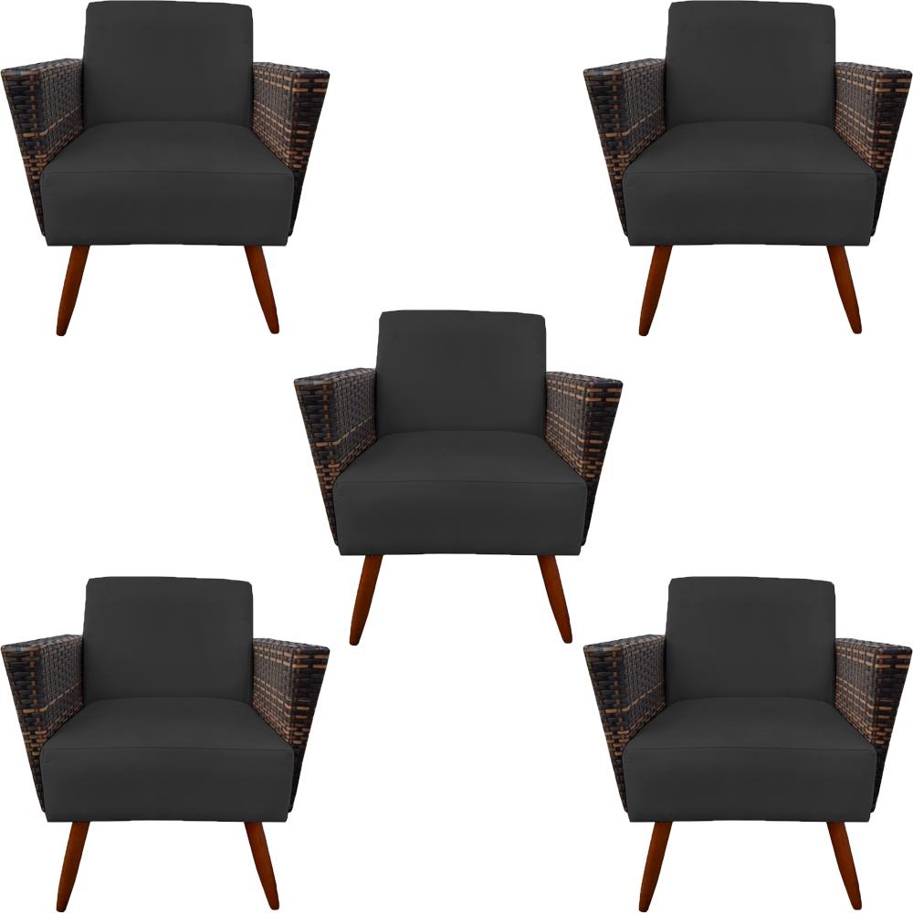 Kit 5 Poltrona Chanel Decoração Pé Palito Cadeira Escritório Clinica Jantar Estar Suede Preto