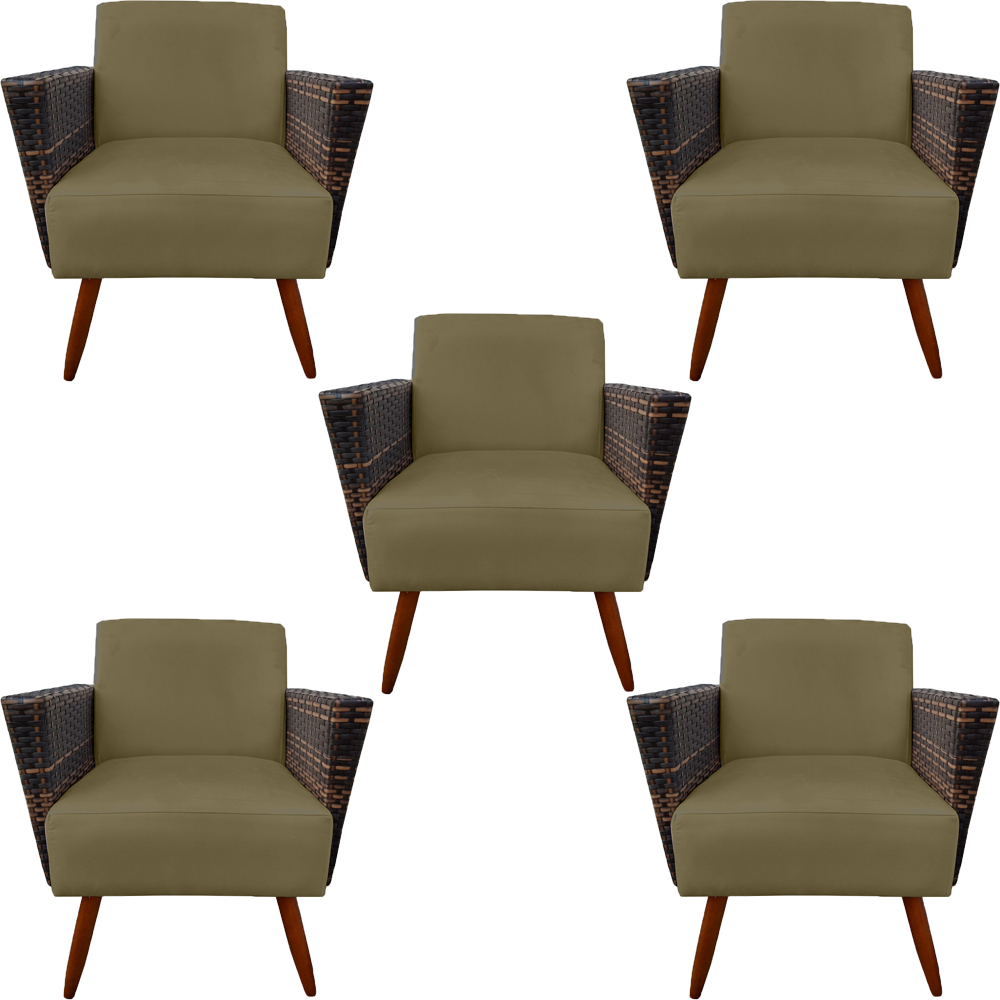 Kit 5 Poltrona Chanel Decoração Pé Palito Cadeira Escritório Clinica Jantar Sala Estar D'Classe Decor Suede Marrom Rato