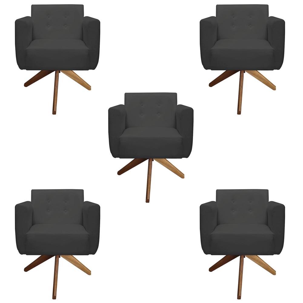 Kit 5 Poltrona Duda Decoraçâo Base Giratória Cadeira Recepção Escritório Clinica D'Classe Decor Suede Grafite