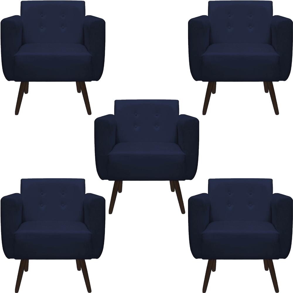 Kit 5 Poltrona Duda Decoraçâo Pé Palito Cadeira Recepção Escritório Clinica D'Classe Decor Suede Azul Marinho