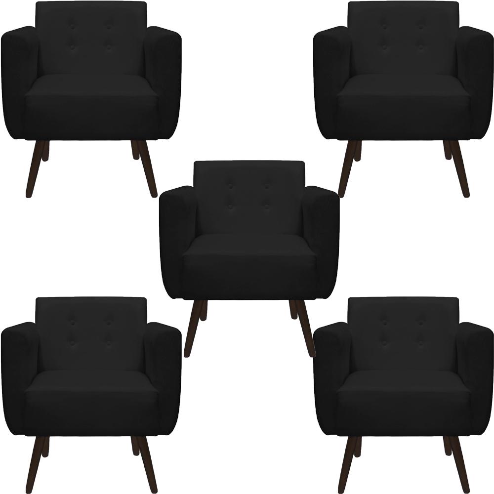 Kit 5 Poltrona Duda Decoraçâo Pé Palito Cadeira Recepção Escritório Clinica D'Classe Decor Suede Preto